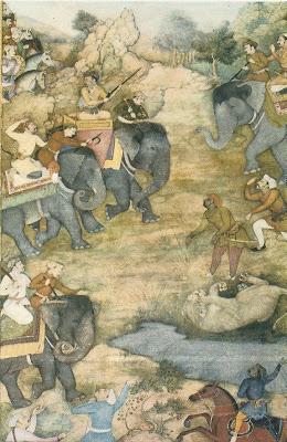 Jahanginr showing his hunting skills to Rana Karan post card obverse.jpg